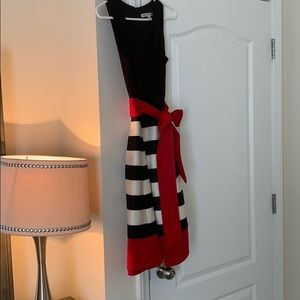 A black, white and red cocktail dress